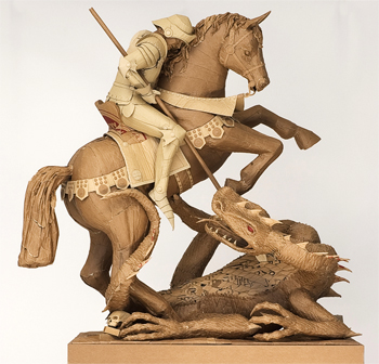 Chris Gilmour Good and Evil cardboard statue