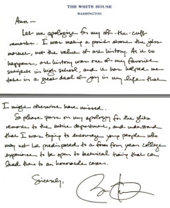 President Obama's handwritten letter to art historian Ann Collins Johns.