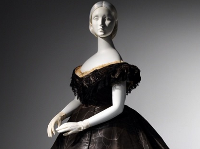 "Evening Dress, ca. 1861. Lent to Metropolitan Museum of Art by Roy Langford. Exhibited in ""Death Becomes Her""."